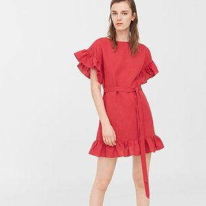 UO So Suddenly Spring Ruffle Linen Dress